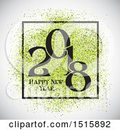 Clipart Of A Happy New Year 2018 Design With Green Glitter Royalty Free Vector Illustration