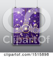Clipart Of A Happy New Year 2018 Design Poster Hanging Over Gray Royalty Free Vector Illustration