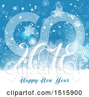 Clipart Of A Happy New Year 2018 Design With Snowflakes And Stars Royalty Free Vector Illustration