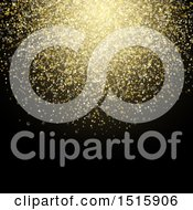 Clipart Of A Gold Glitter Cluster On Black Royalty Free Vector Illustration