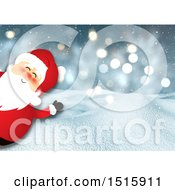 Cartoon Santa Peeking And Waving Over A 3d Winter Snow Background