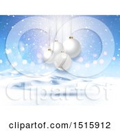 Christmas Background Of 3d White Baubles Over A Snowy Landscape