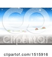 Christmas Background With 3d Baubles In Snow And A Wood Surface