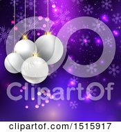 Christmas Background With 3d Suspended White Baubles Over Purple And Snowflakes