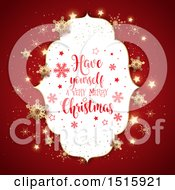 Have Yourself A Very Merry Christmas Greeting In Af Rame Over Red With Stars And Snowflakes