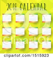 Clipart Of A 2018 Yearly Calendar Design On Green Royalty Free Vector Illustration