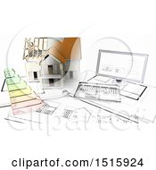 Clipart Of A Half 3d Sketched Built House On Blueprints By A Computer Royalty Free Illustration