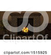 Clipart Of A 3d Fireplace Royalty Free Illustration by KJ Pargeter