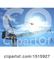 Clipart Of A 3d Industrial Construction Crane Against A Blue Sky Royalty Free Illustration