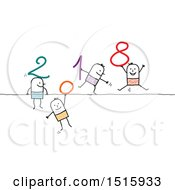 Clipart Of A New Year 2018 Design With Patterned Stick Men And One Holding 7 Hanging Down Royalty Free Vector Illustration