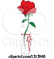 Clipart Of A Single Red Rose In A Vase Royalty Free Vector Illustration by Vitmary Rodriguez
