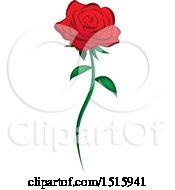 Clipart Of A Single Red Rose Royalty Free Vector Illustration by Vitmary Rodriguez