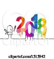 Stick Man Painting New Year 2018 On A White Background