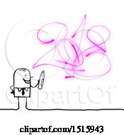 Stick Man Drawing New Year 2018 In Pink Marker On A White Background