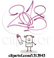 Clipart Of A Stick Woman Holding A Marker After Drawing New Year 2018 Royalty Free Vector Illustration