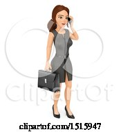 Clipart Of A 3d Business Woman Talking On A Cell Phone On A White Background Royalty Free Illustration by Texelart