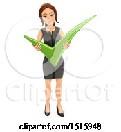Clipart Of A 3d Business Woman Holding A Check Mark On A White Background Royalty Free Illustration by Texelart
