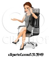 Clipart Of A 3d Business Woman Sitting In A Chair Talking On A Cell Phone On A White Background Royalty Free Illustration by Texelart