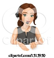 Clipart Of A 3d Business Woman Wearing A Headset Over A Sign On A White Background Royalty Free Illustration