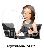 Clipart Of A 3d Business Woman Wearing A Headset And Giving A Thumb Up At A Laptop Computer On A White Background Royalty Free Illustration