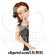 Clipart Of A 3d Business Woman Wearing A Headset Around A Sign On A White Background Royalty Free Illustration