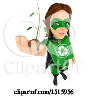 Clipart Of A 3d Recycle Super Woman Holdng Up A Seedling Plant On A White Background Royalty Free Illustration