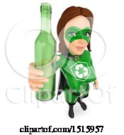 Clipart Of A 3d Recycle Super Woman Holding Up A Glass Bottle On A White Background Royalty Free Illustration