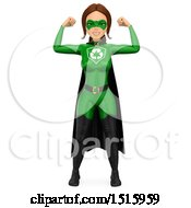 Clipart Of A 3d Recycle Super Woman Flexing On A White Background Royalty Free Illustration