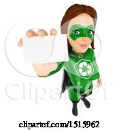 Clipart Of A 3d Recycle Super Woman Holding Up A Business Card On A White Background Royalty Free Illustration