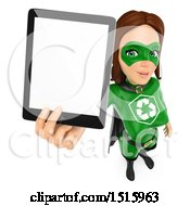 Clipart Of A 3d Recycle Super Woman Holding Up A Tablet Computer On A White Background Royalty Free Illustration