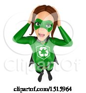 Clipart Of A 3d Stressed Out Recycle Super Woman On A White Background Royalty Free Illustration