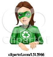 Clipart Of A 3d Recycle Super Woman Over A Sign On A White Background Royalty Free Illustration