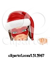 Clipart Of A 3d Christmas Woman Holding A Finger Over Her Lips Over A Sign On A White Background Royalty Free Illustration