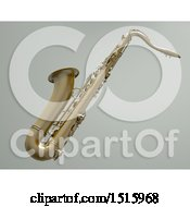 3d Saxophone Over A Shaded Gray Background