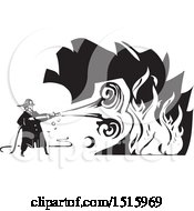 Poster, Art Print Of Firefighter Spraying A Fire With A Hose