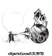 Poster, Art Print Of Firefighter Spraying A Burning Globe With A Hose