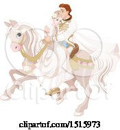 Clipart Of A Princess And Prince Wedding Couple On A Horse Royalty Free Vector Illustration