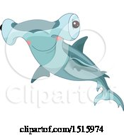 Clipart Of A Cute Hammerhead Shark Royalty Free Vector Illustration