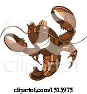 Clipart Of A Cute Happy Lobster Royalty Free Vector Illustration by Pushkin