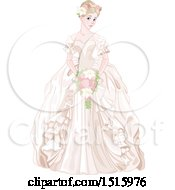 Clipart Of A Princess Bride In A Cream Gown Holding A Bouquet Royalty Free Vector Illustration