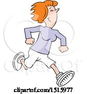 Clipart Of A Cartoon Happy Red Haired Woman Running Royalty Free Vector Illustration by Johnny Sajem