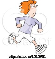 Cartoon Red Haired Woman Running Away