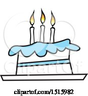 Clipart Of A Cartoon Blue And White Birthday Cake With Three Candles Royalty Free Vector Illustration by Johnny Sajem