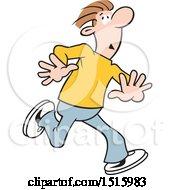 Cartoon Scared Man Running Away