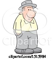 Clipart Of A Cartoon Lonely Old Man Royalty Free Vector Illustration