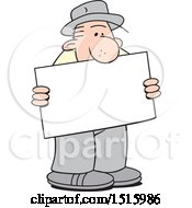 Cartoon Old Man Holding A Blank Sign