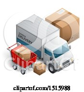3d Delivery Truck With Boxes And A Shopping Cart