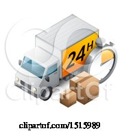 3d Delivery Truck With A 24 Hour Sign Boxes And A Timer