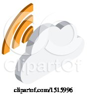 3d Isometric Cloud And Signal Icon
