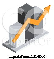 3d Isometric Bar Graph And Arrow Icon